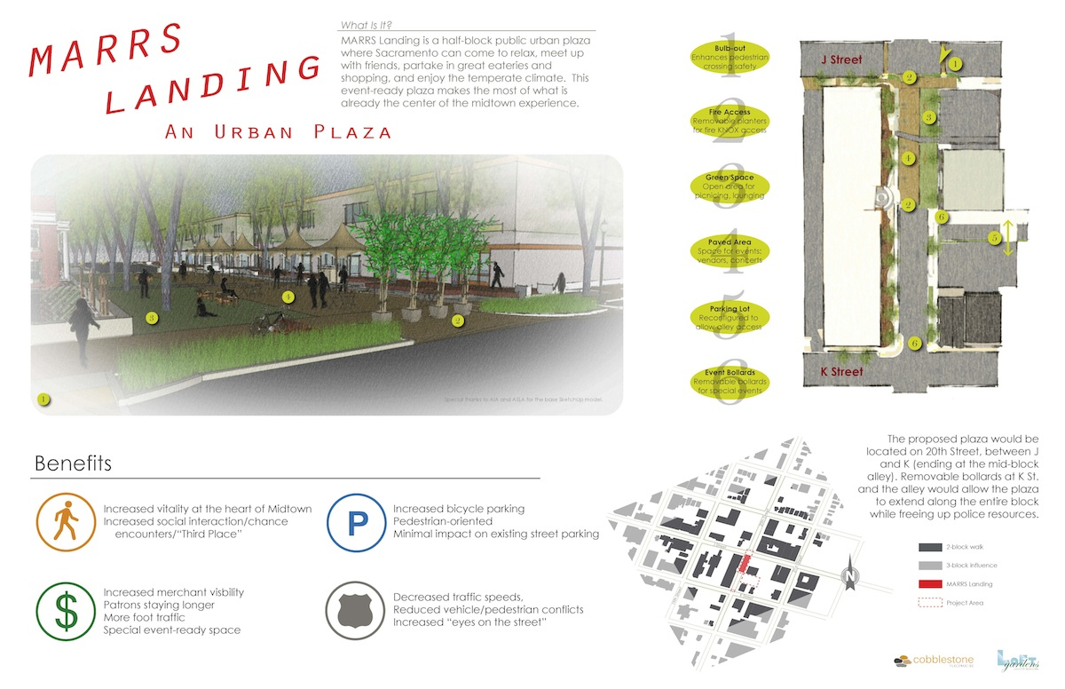 Concept board for MARRS Landing: an Urban Plaza